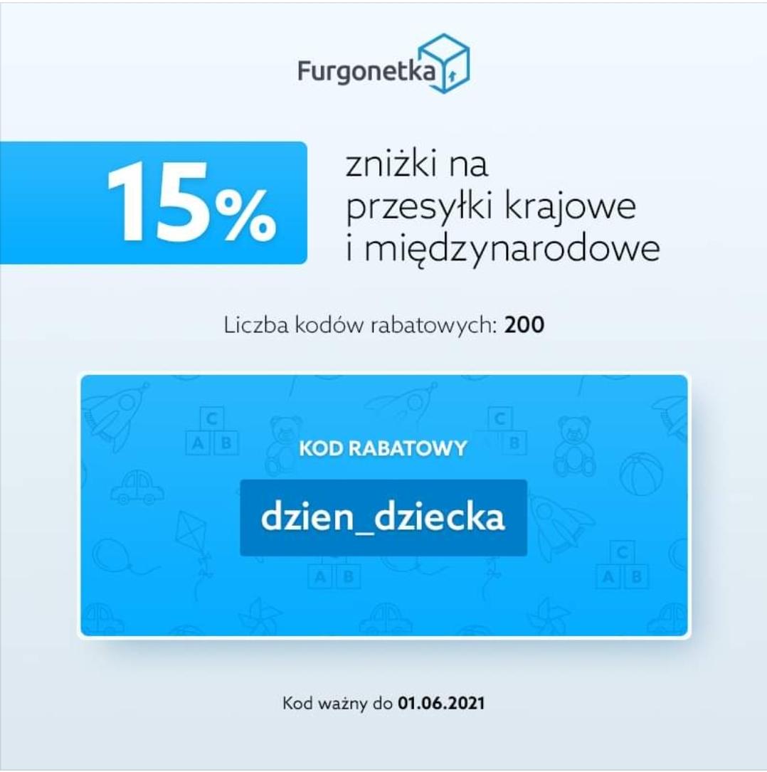 200 kuponów 15% rabatu w Furgonetka.pl na przesyłki krajowe i zagraniczne