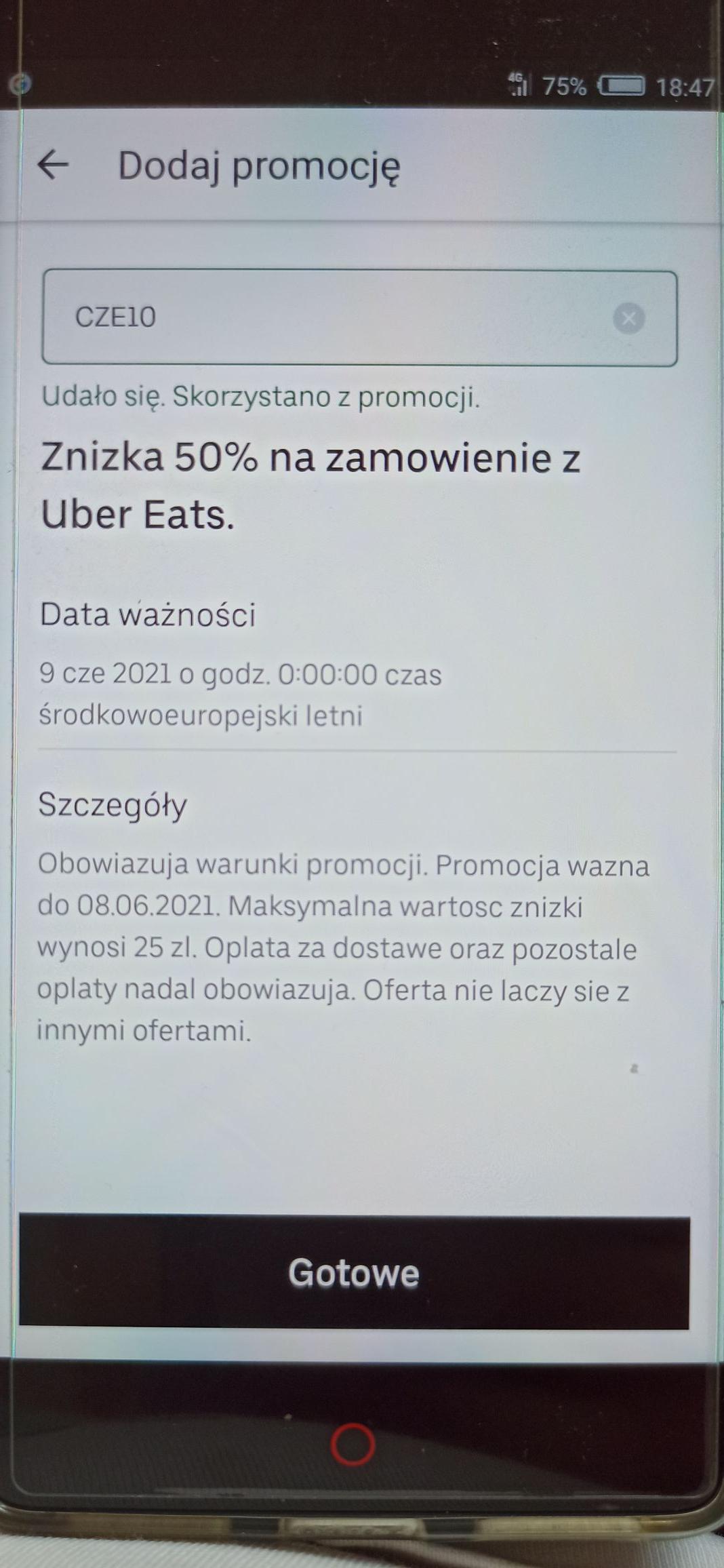 Zniżka 50% max 25 zł na Uber Eats