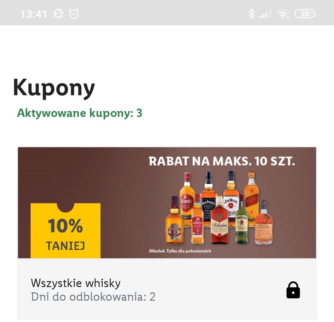Whisky (np. Jameson za 53.99zl/0,7l) w Lidlu z aplikacją -10 % (Grant's, James , Chivas its) czyli te co są na półkach .