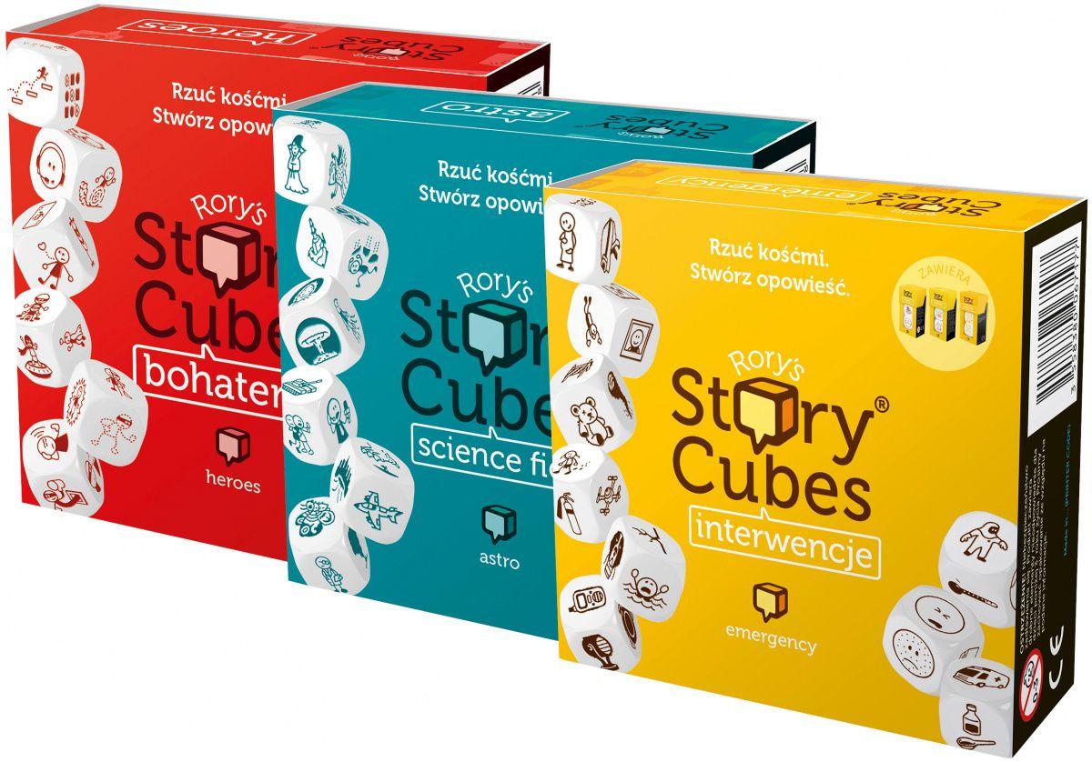 Rebel Zestaw Story Cubes 3 w 1: Interwencje + Science Fiction + Bohaterowie
