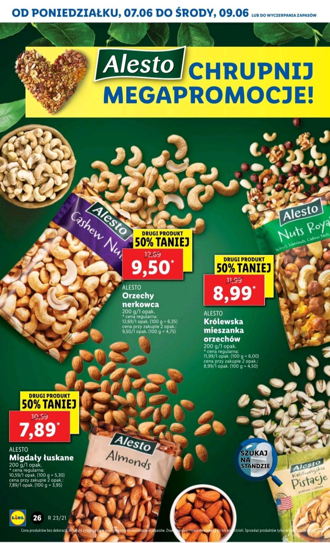 Alesto orzechy, pistacje, migdały, mix orzechów • drugi produkt -50% taniej •Lidl