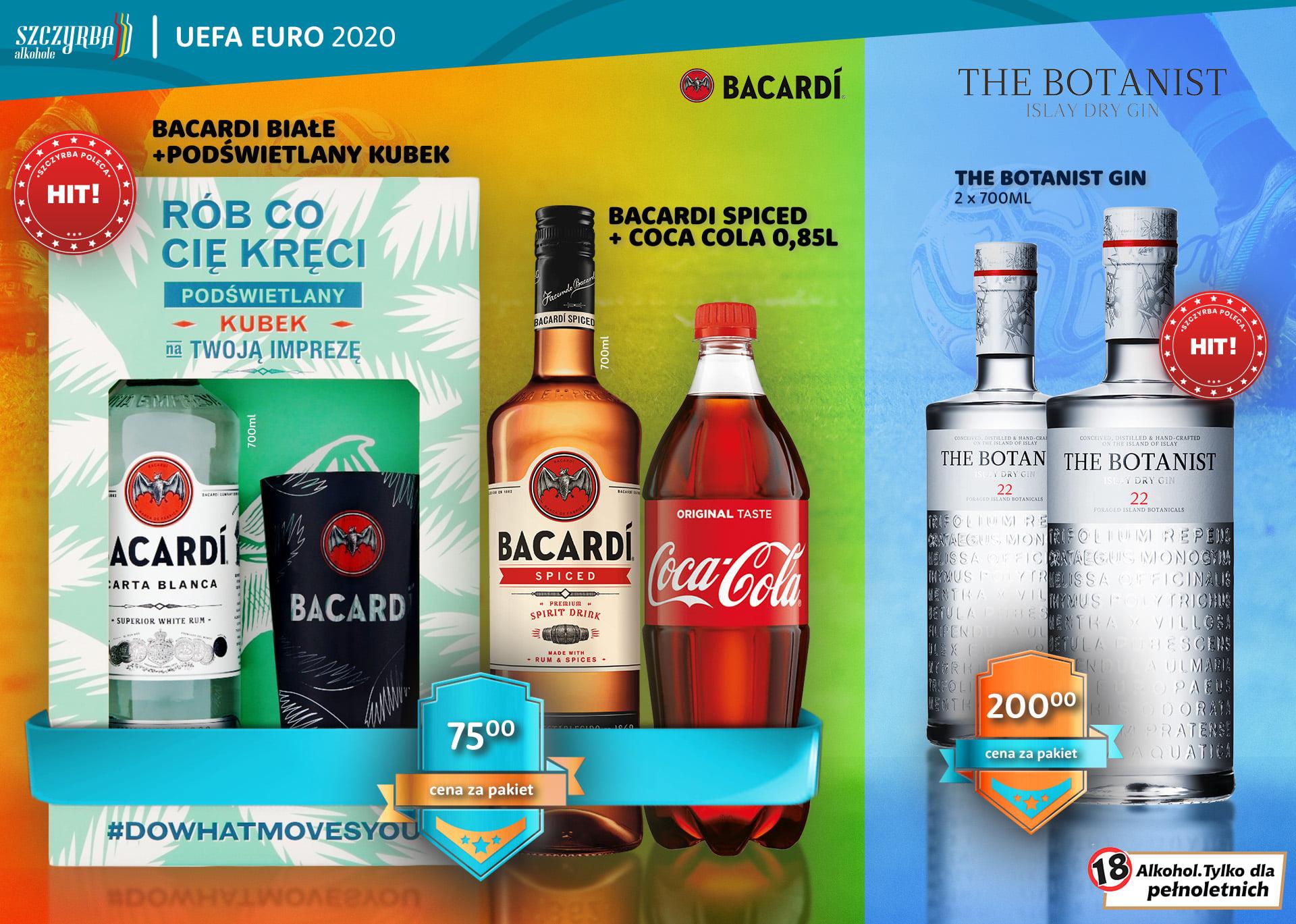Zestaw Rum Bacardi Carta Blanca 0,7l + Bacardi Spicied 0,7l + szklanka + Cola 0,85l