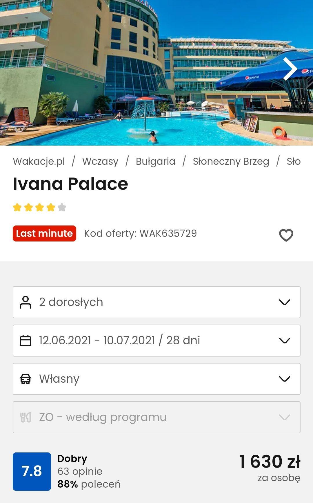Bułgaria Hotel 4* z śniadaniem 28 dni za osobe 1630 zł - dojazd własny