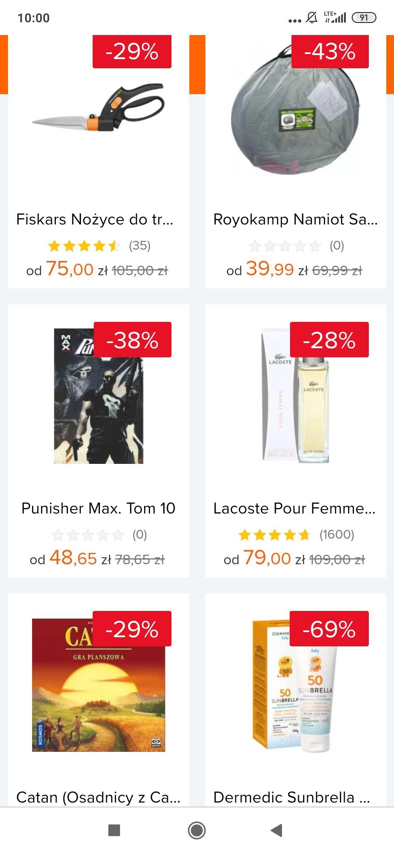 Gorące Towary -30zl na Ceneo (m.in. Fiskars Nożyce do trawy za 75zl oraz Lacoste Pour Femme 90ml za 79zl)