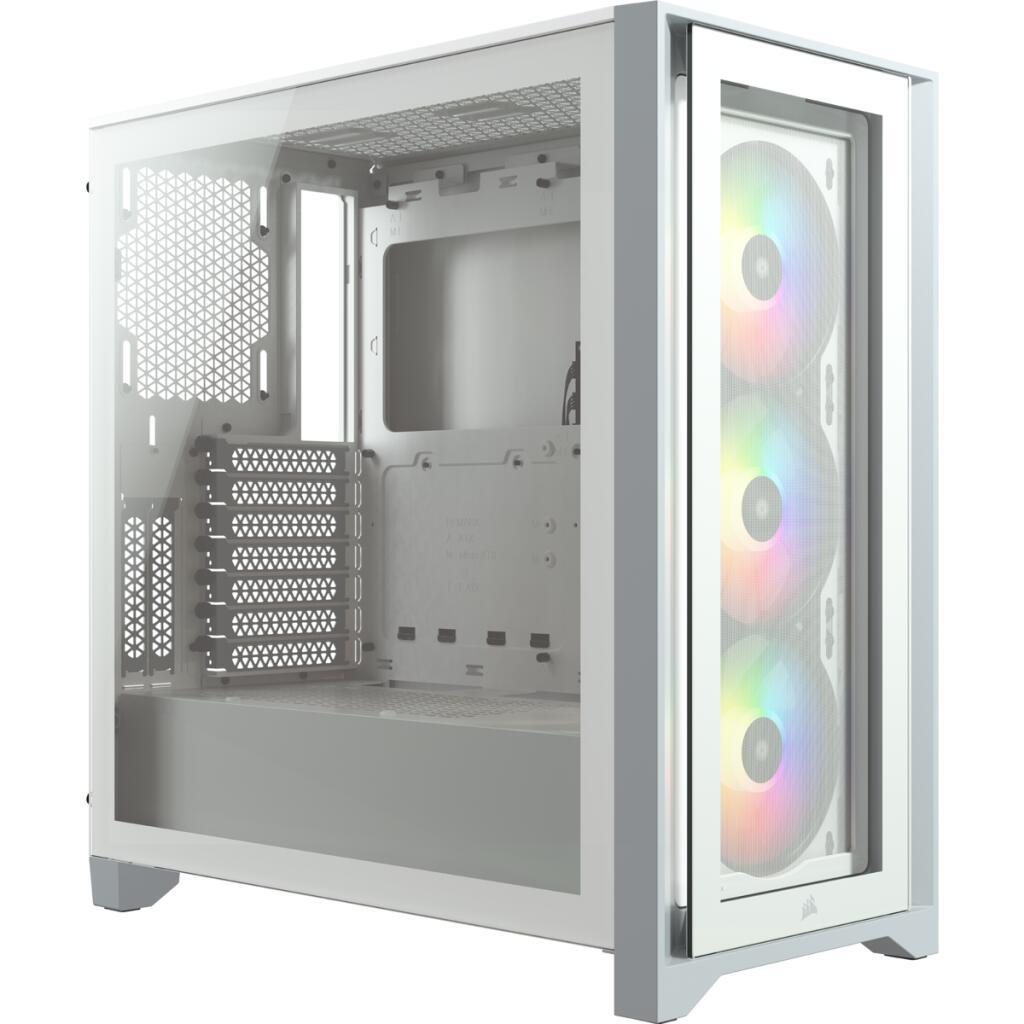 Obudowa Corsair iCUE 4000X RGB (biała, szkło hartowane, 1x USB 3.0 i Typ C)