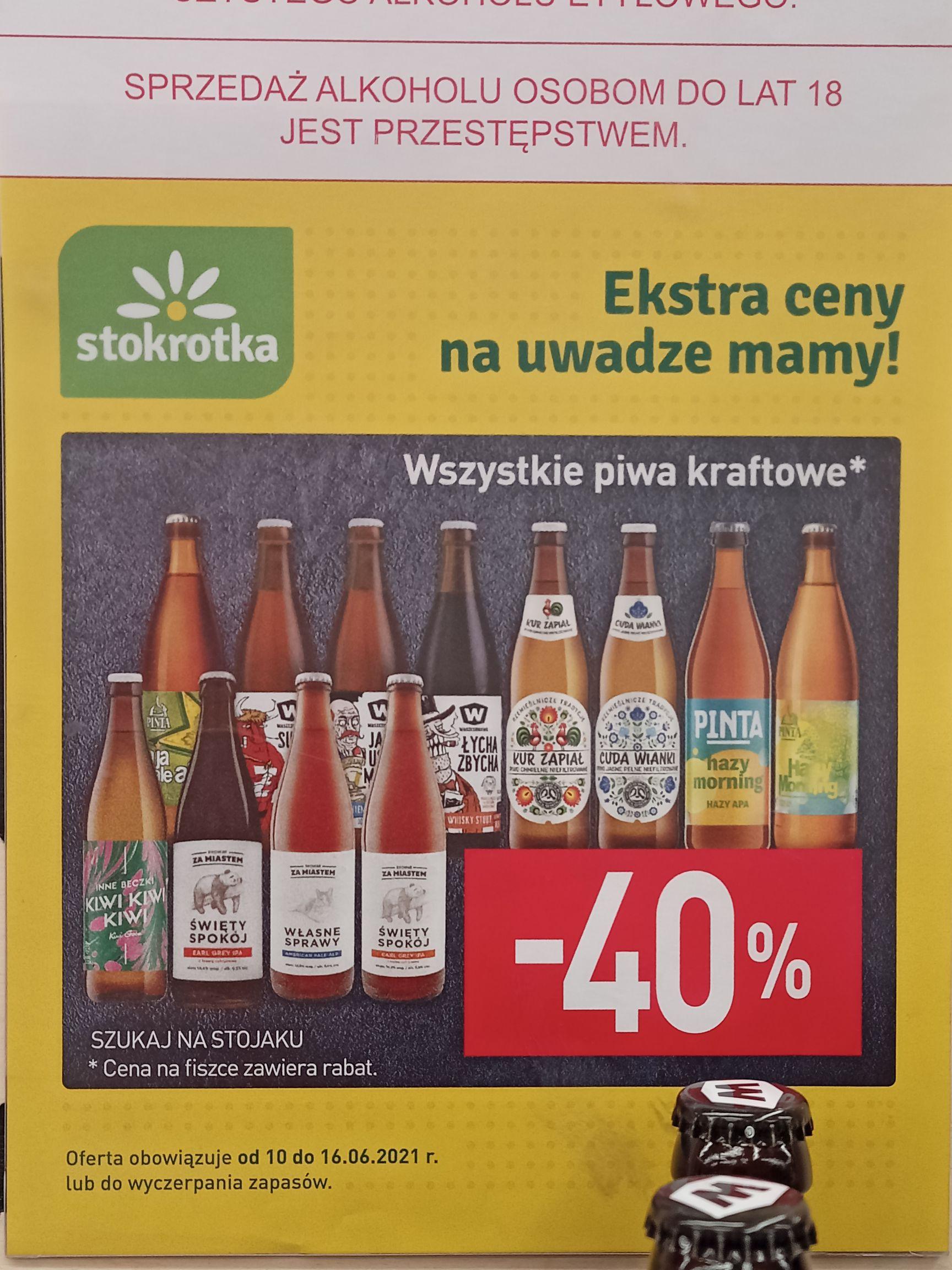 Wszystkie piwa kraftowe -40% @Stokrotka