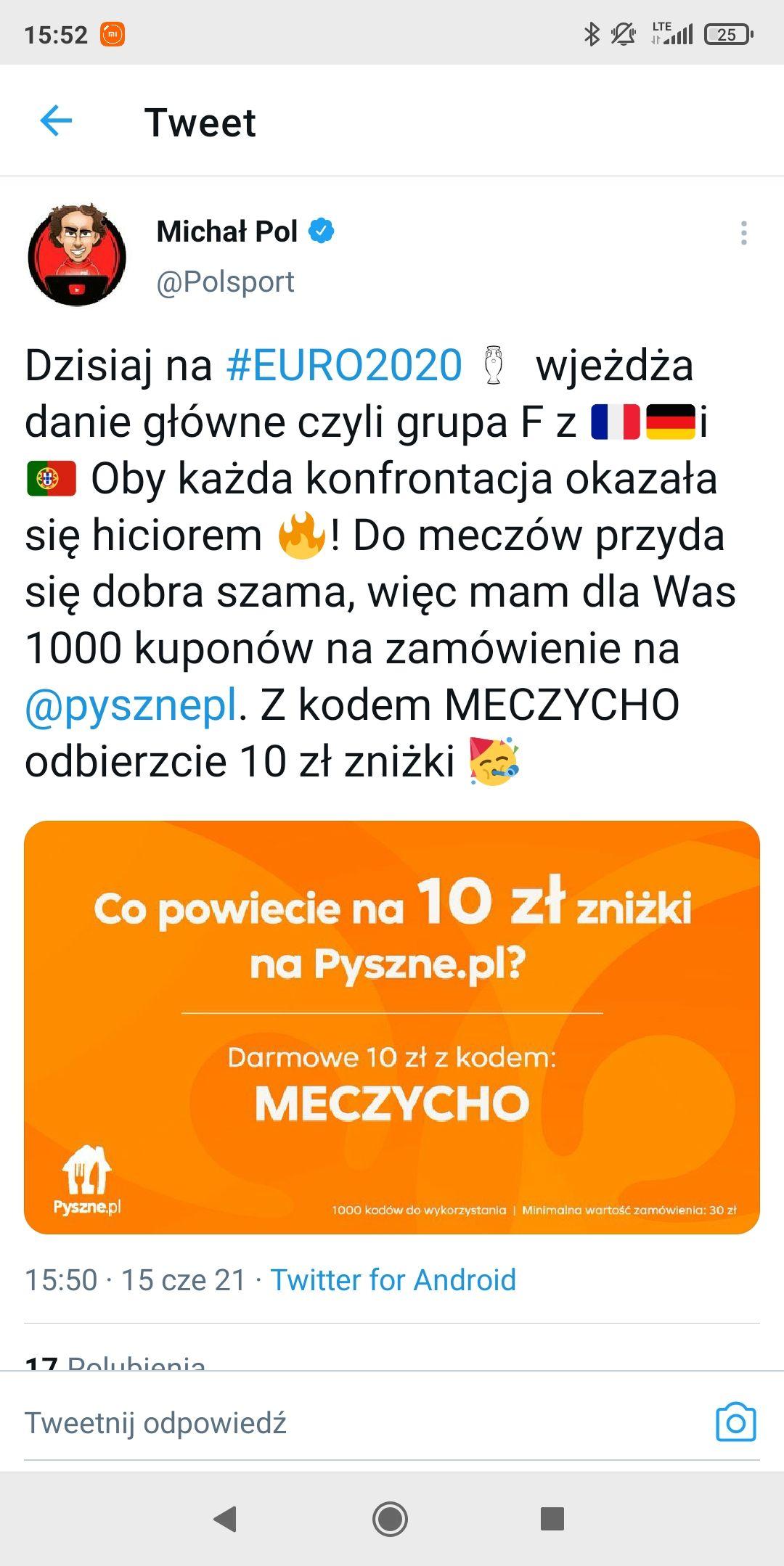Kod -10 zł na pyszne.pl (MWZ 30 zł)