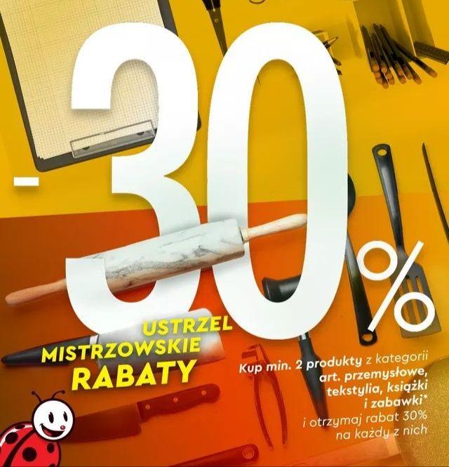 Artykuły przemysłowe, zabawki, tekstylia i książki 30% taniej przy zakupie 2 sztuk - Biedronka