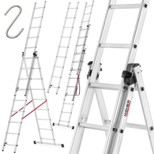 Drabina aluminiowa uniwersalna 3x9 HIGHER + hak (4.20m, 150 kg) @ Higher