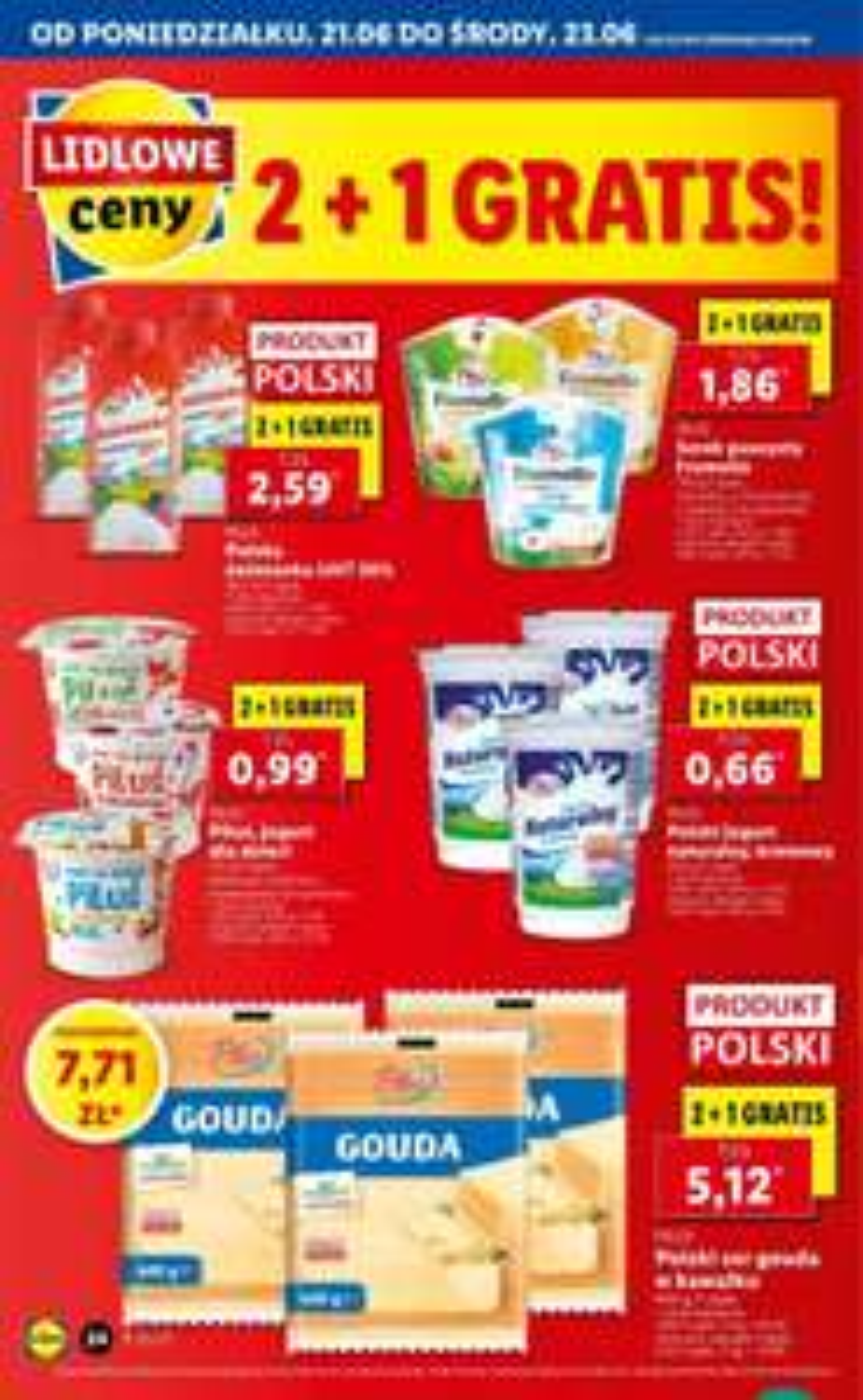 Produkty mleczne 2+1 gratis Lidl