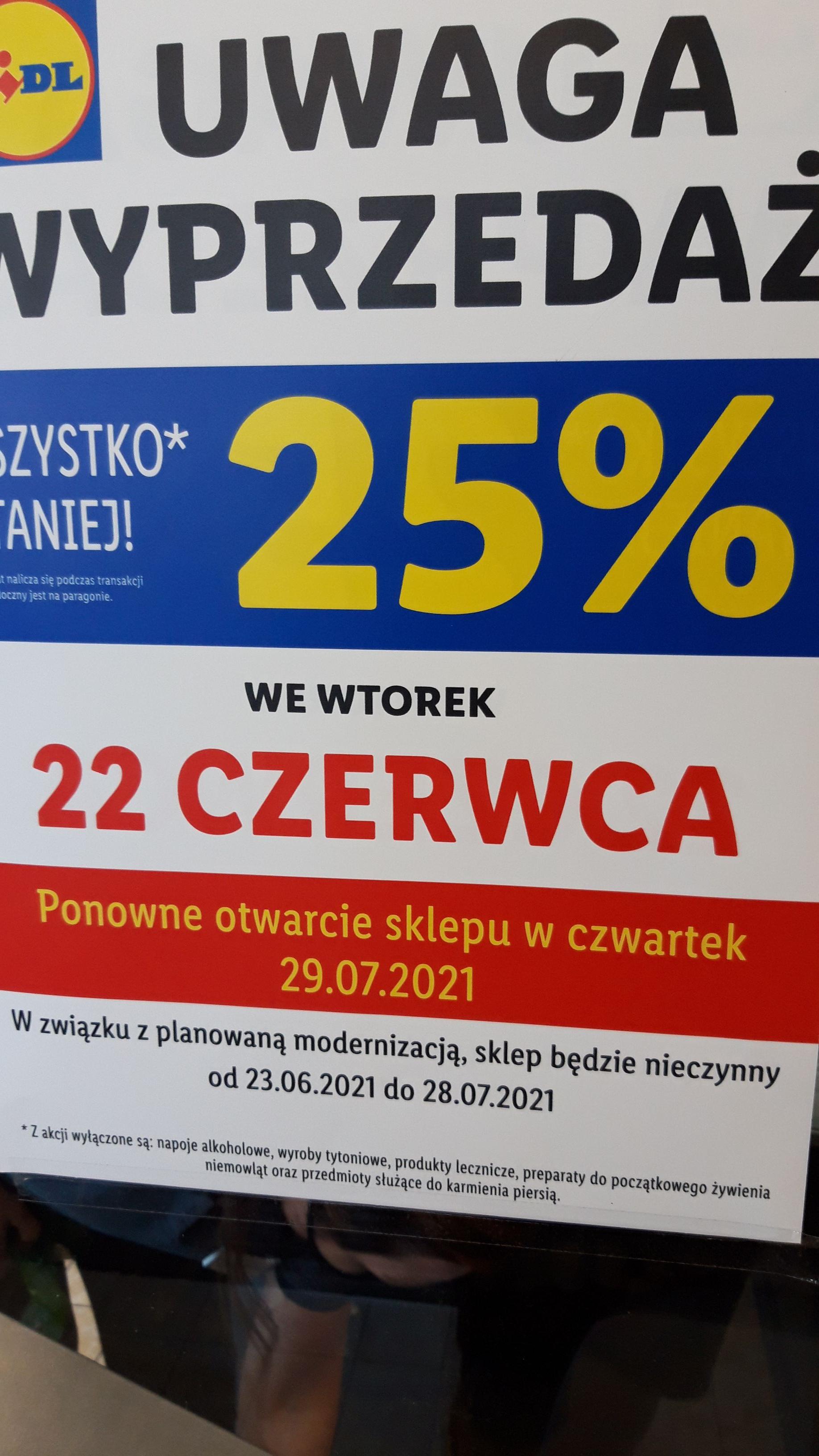 Wielka wyprzedaż -25% w Lidl Płock Armii Krajowej