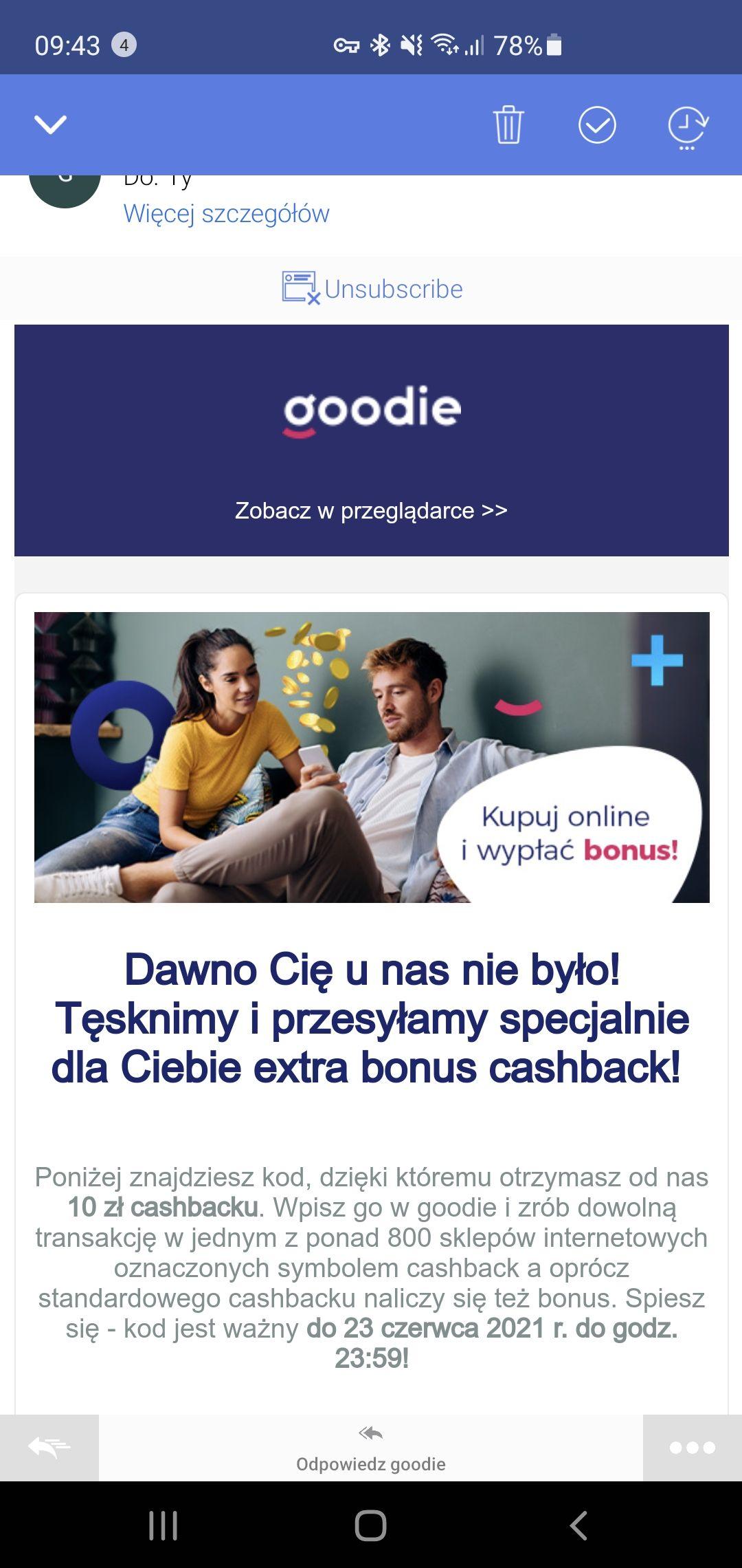 Goodie dodatkowy cashback 10 zł