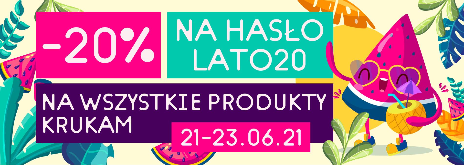 Rabat 20% na wszystkie produkty 21-23.06 w Krukam
