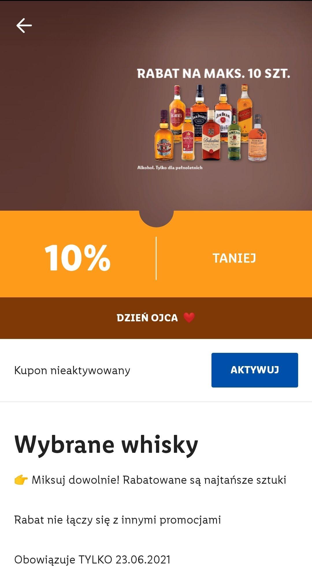 -10% na wybrane whisky LIDL stacjonarnie na Dzień Ojca 23.06