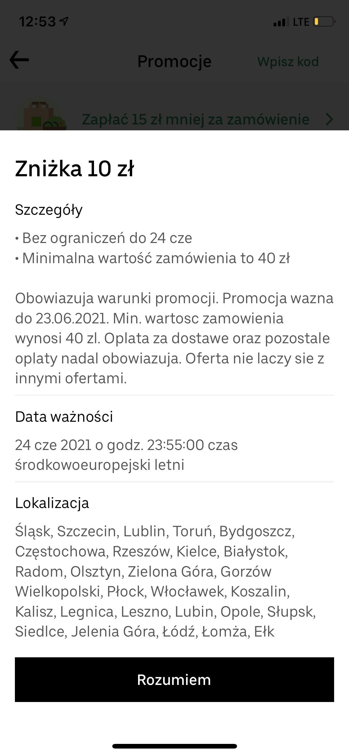 Uber Eats zniżka 10 zł MWZ 40 zł
