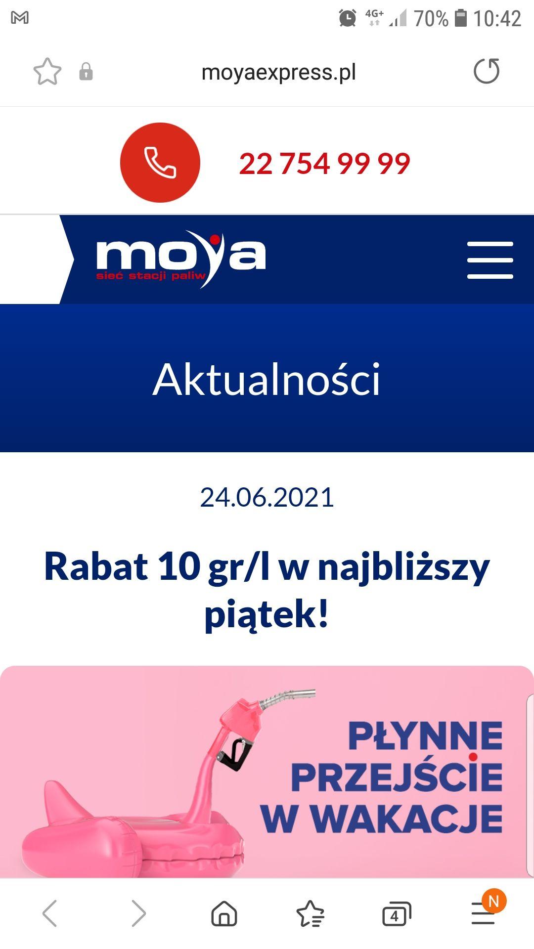 Tankuj taniej o 10gr na stacjach Moya Express