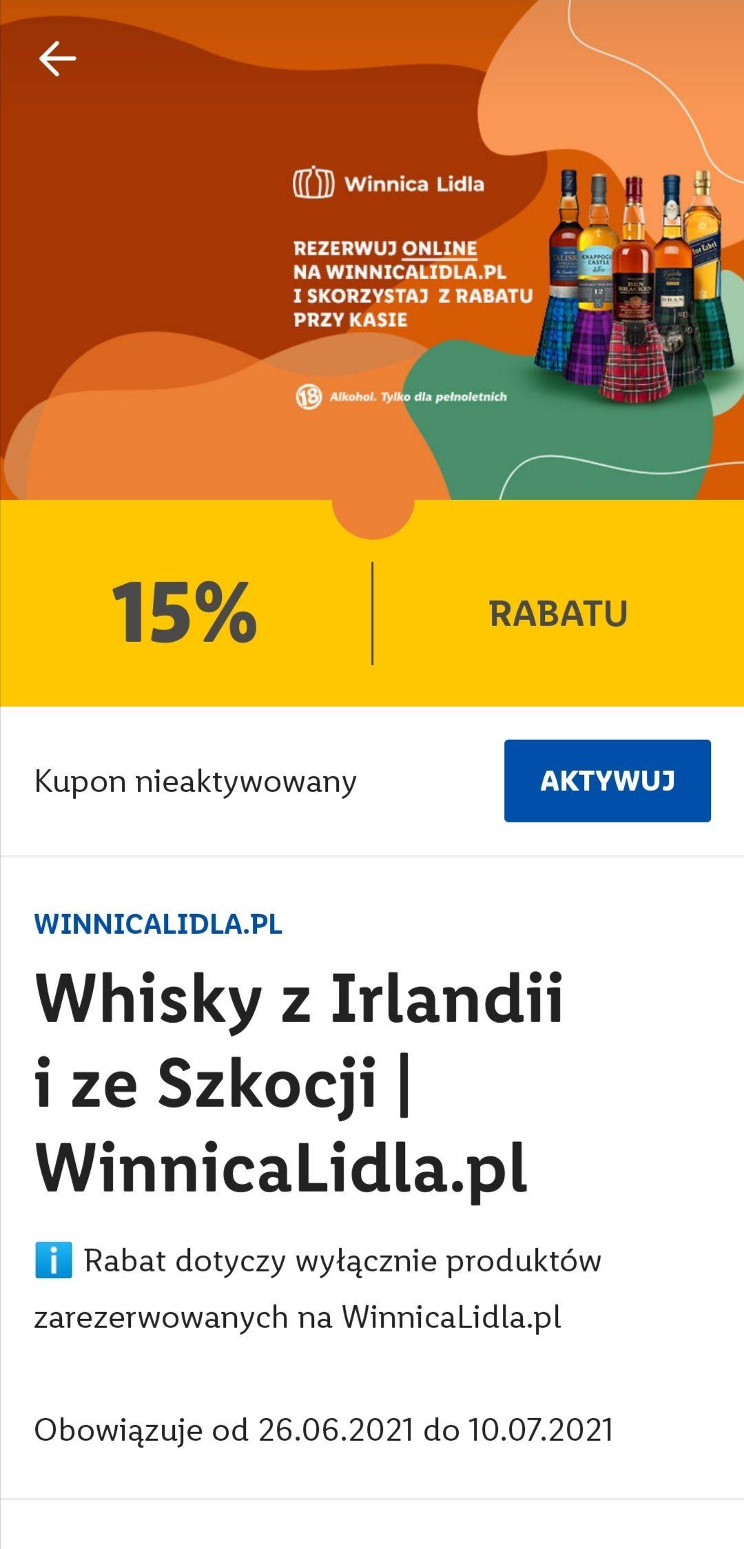 15 % zniżki na whisky z Irlandii i ze Szkocji - Winnica Lidla