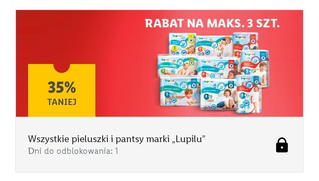 Wszystkie pieluchy i pantsy Lupilu -35%, max 3op - kupon Lidl Plus