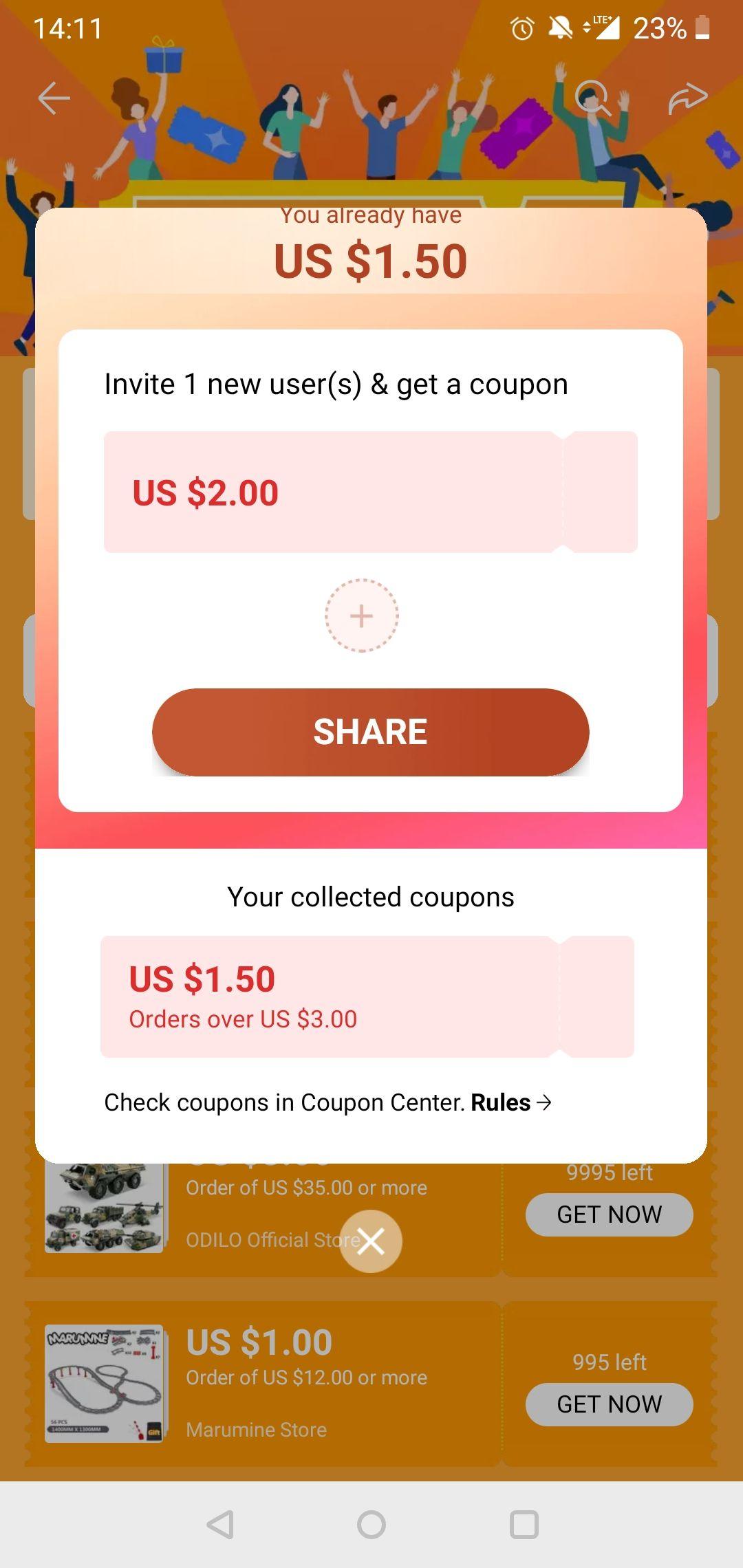 Kupon 1,5/3$ w aplikacji aliexpress (coupon center)
