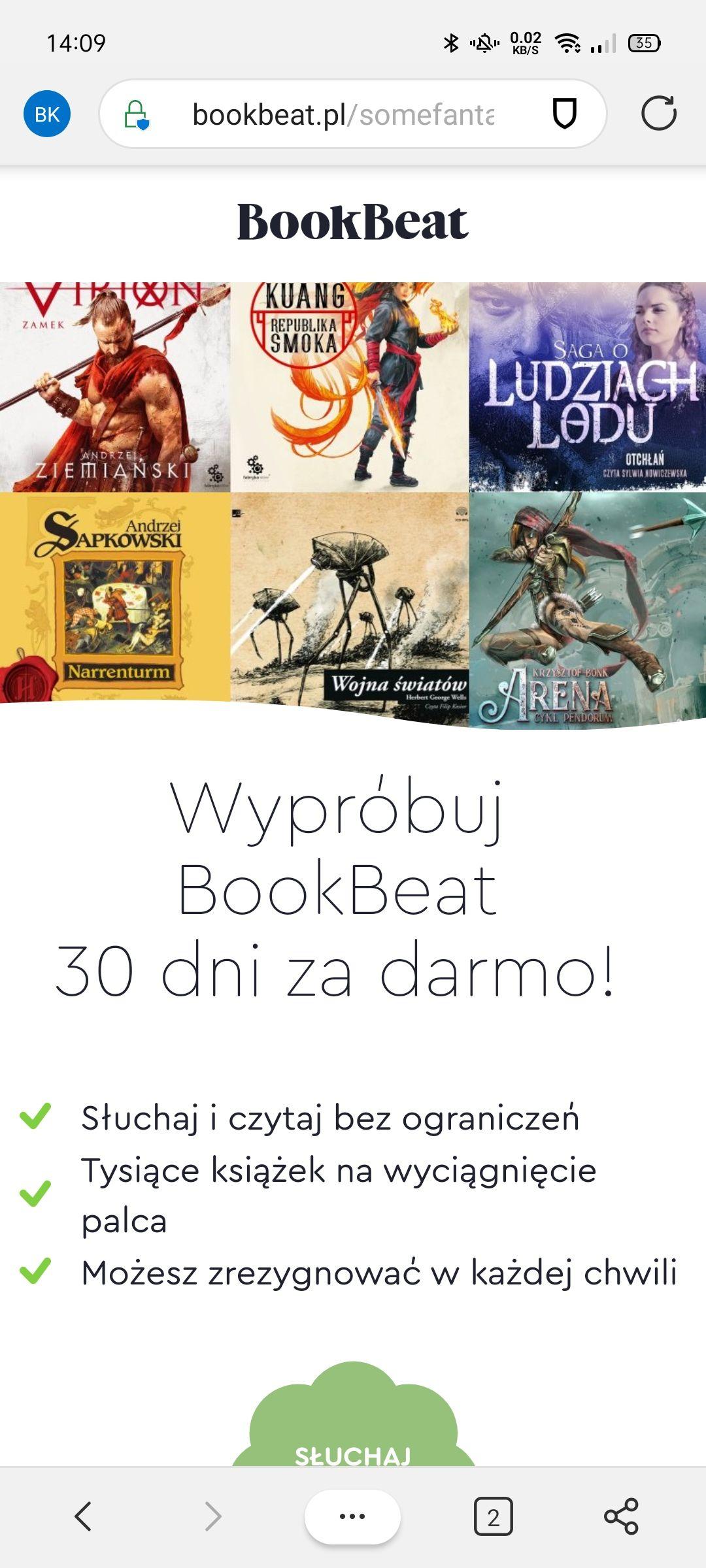 BookBeat 30 dni za darmo dla nowych