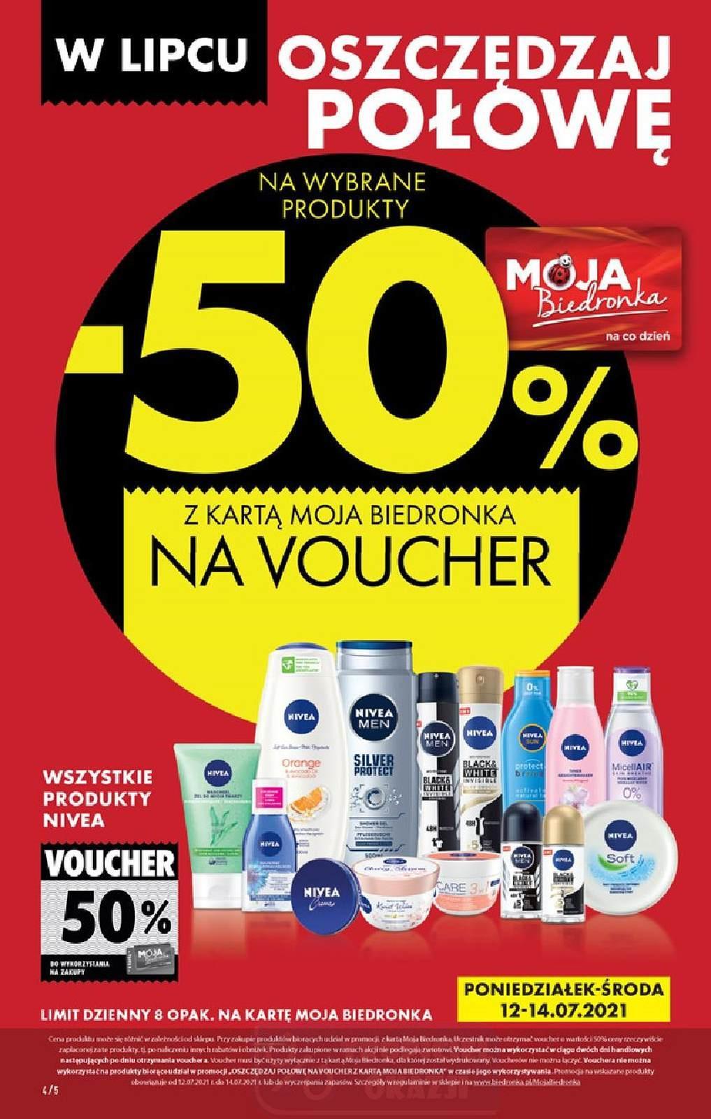 Biedronka Wszystkie produkty Nivea zwrot 50% na voucher