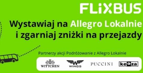 15% rabatu na przejazd FlixBus, na trasach krajowych i międzynarodowych - za wystawienie przedmiotu na Allegro Lokalnie