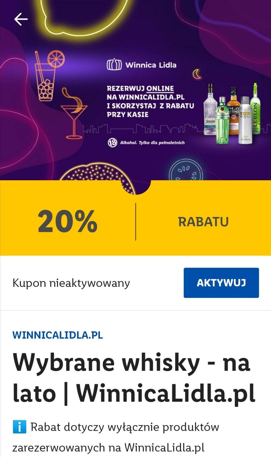 Winnica Lidla - 20% na whisky i alko mocne