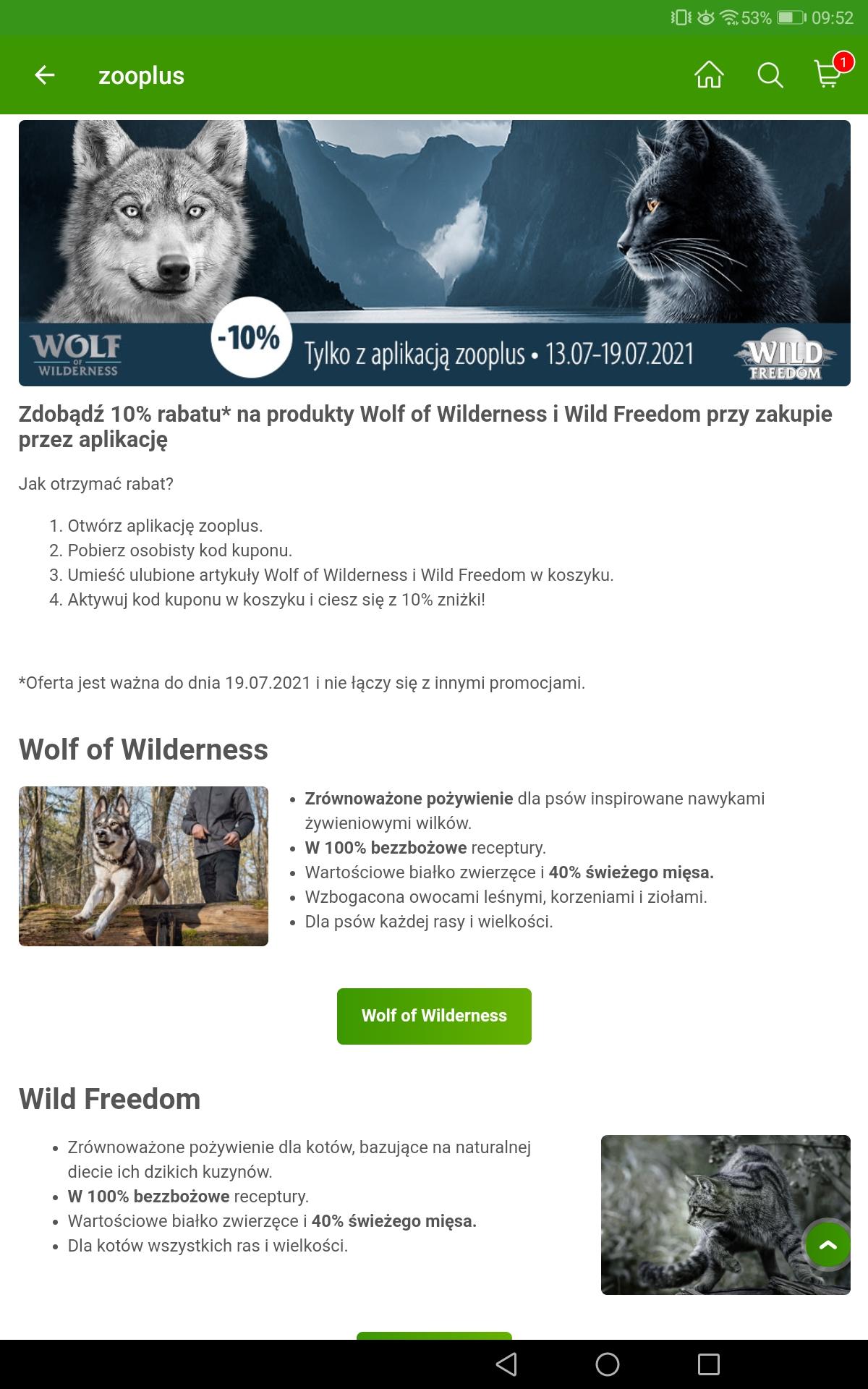 Zooplus aplikacja 10% rabatu na wszystkie produkty marki Wolf of Wilderness i Wild Freedom