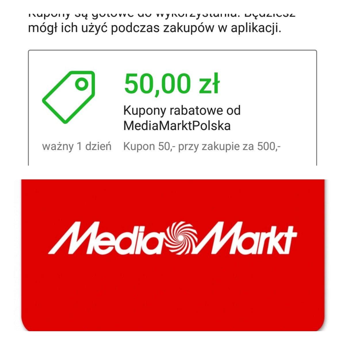 Kupon 50zł od 500zł w sklepie Media Markt z Allegro