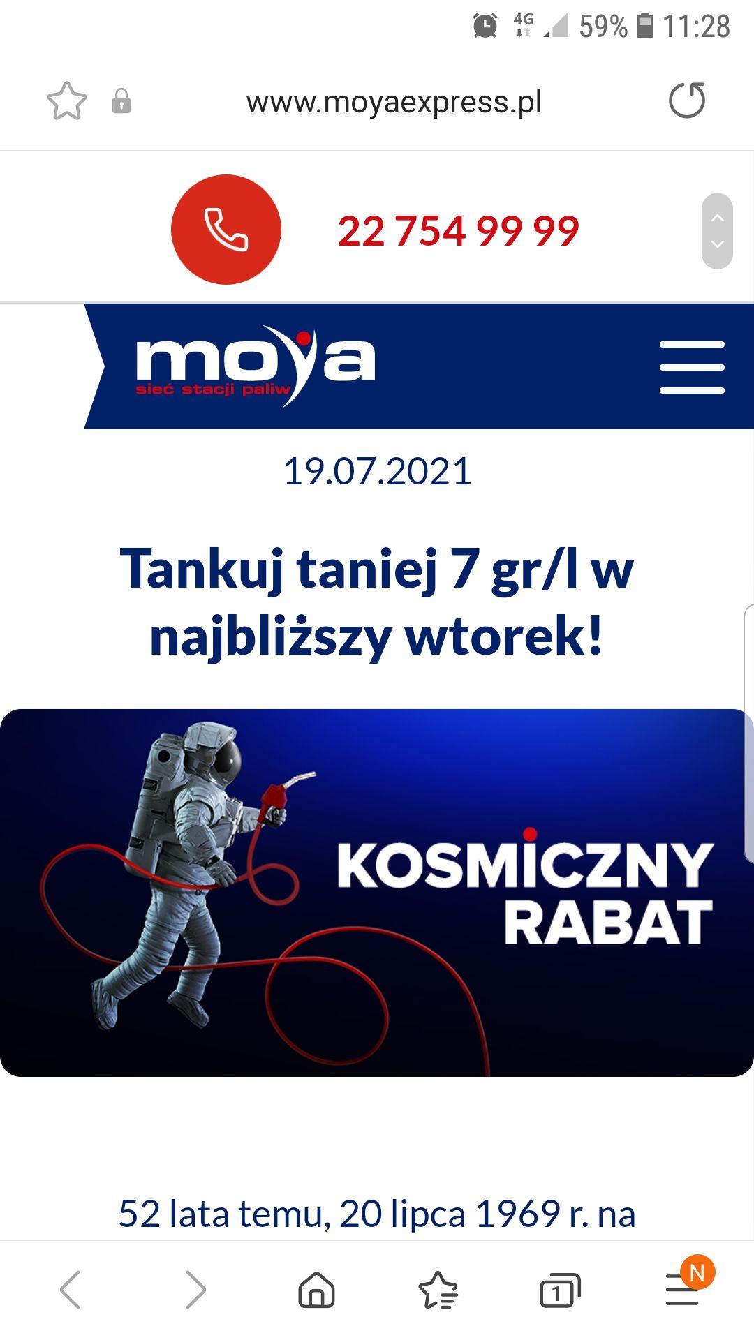 Tankuj taniej o 0,07zł na 1l paliwa na stacjach Moya Express