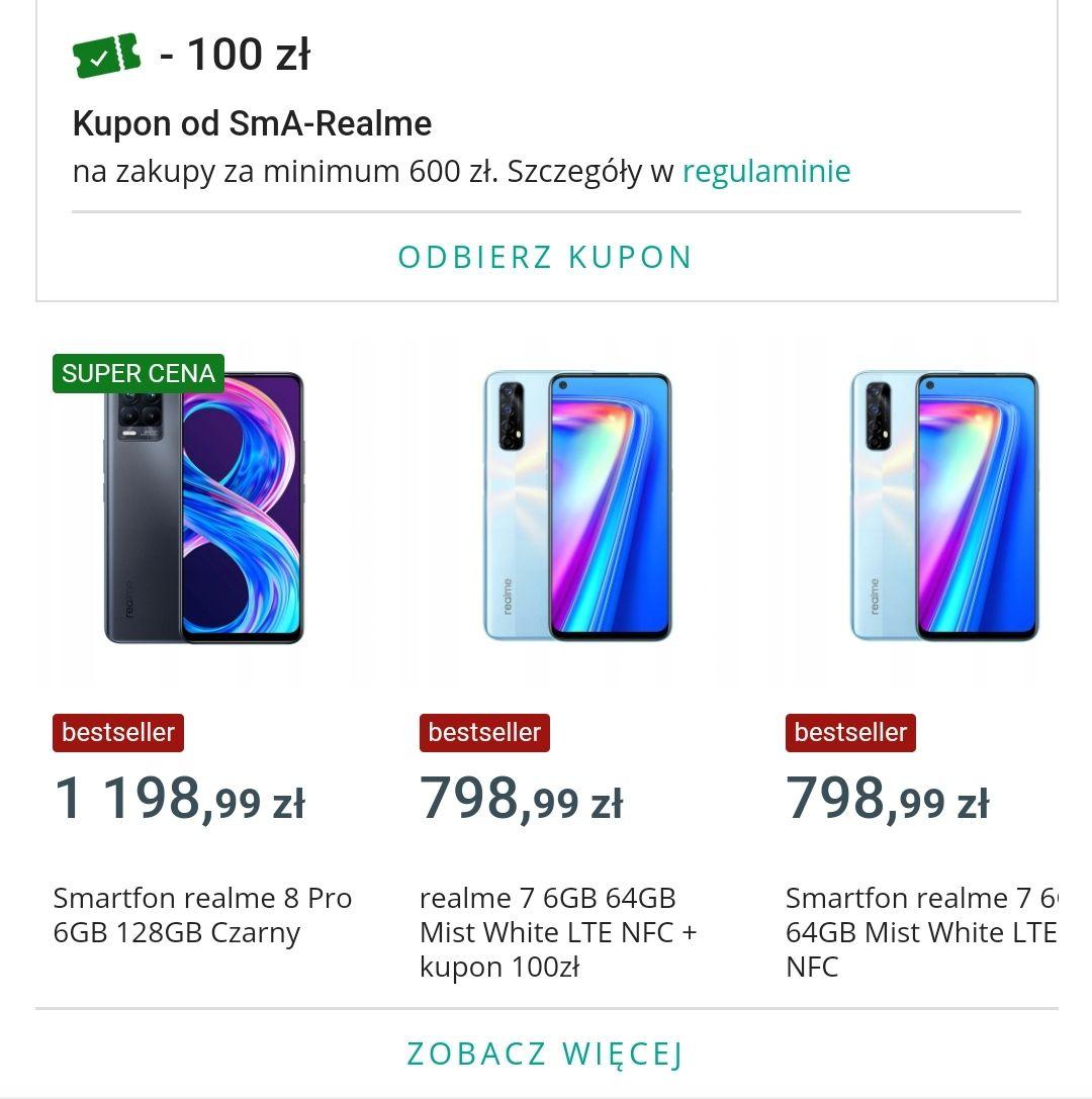 Kupon 100zl od wydanych min 600zl w oficjalnym sklepie Realme na Allegro