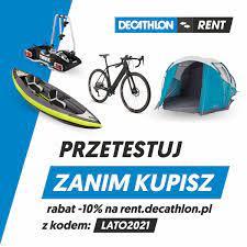 10% zniżki w wypożyczalni DECATHLON RENT! m. in. rowery kajaki namioty bagażniki