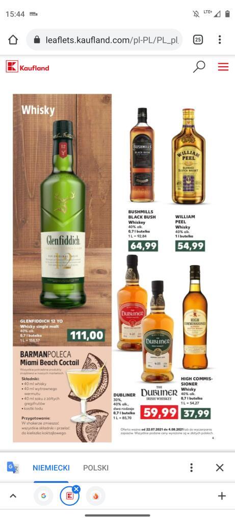 Whiskey Bushmills Black Bush 0.7 i inne Kaufland
