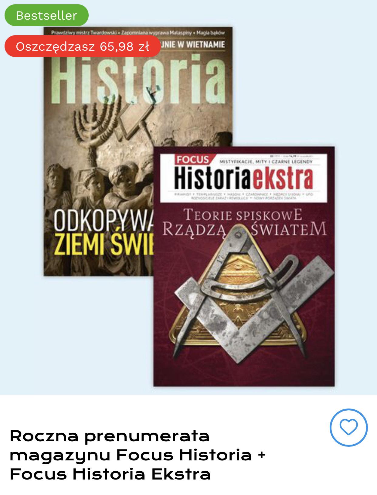 Roczna prenumerata magazynu Focus Historia + Focus Historia Ekstra