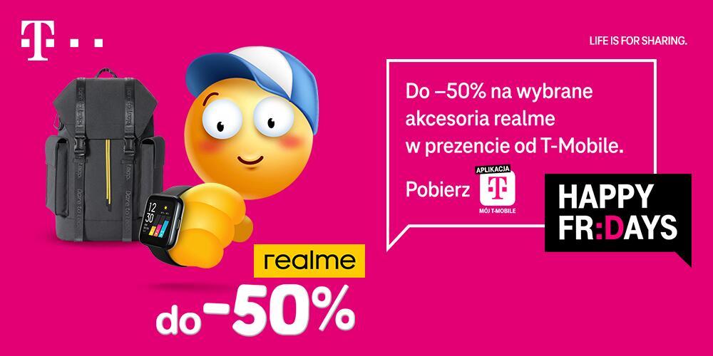 T-Mobile Happy Fridays do 50 % rabatu na wybrane akcesoria Realme 23 - 25 lipca 2021