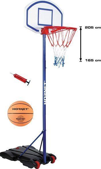 Regulowany kosz do koszykówki Hudora Hornet 205 + piłka i pompka gratis
