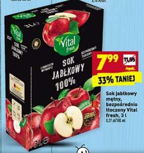 3L 100% Sok jabłkowy mętny, bezpośrednio tłoczony Biedronka