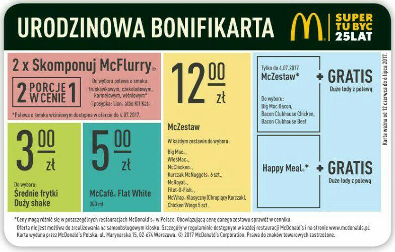 Urodzinowa bonifikarta @ McDonalds