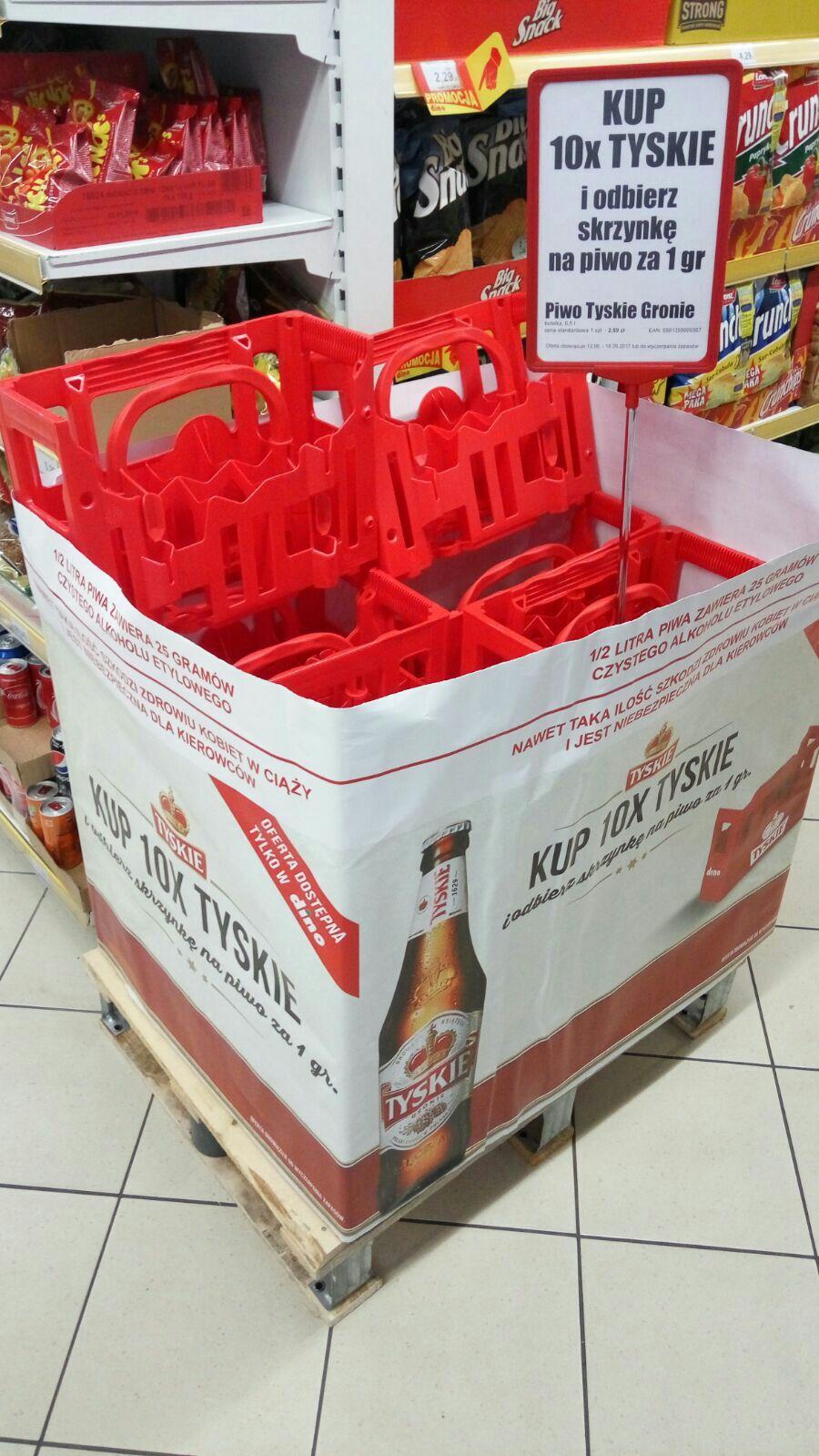 Skrzynka na 10 butelek piwa za 1gr przy zakupie 10 piw Tyskie @Dino