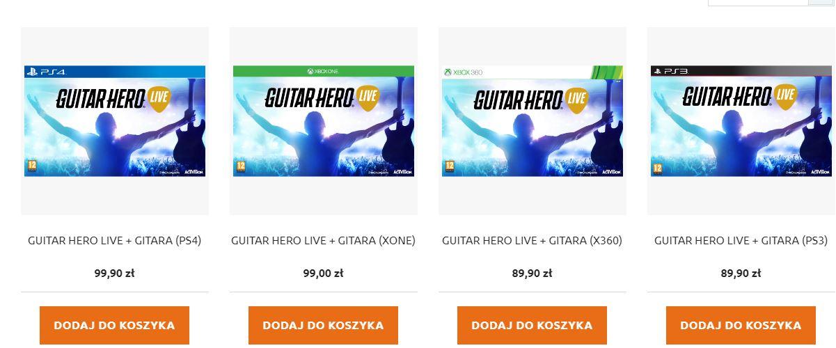 Guitar Hero Live gra+ gitara za 99,90zł na Xbox One/PS4 lub za 89,90zł na X360 lub PS3 @ Playergames