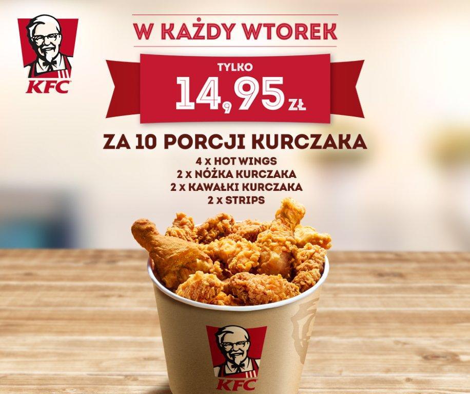 Wtorki z KFC - 10 kawałków kurczaka za 14.95zł