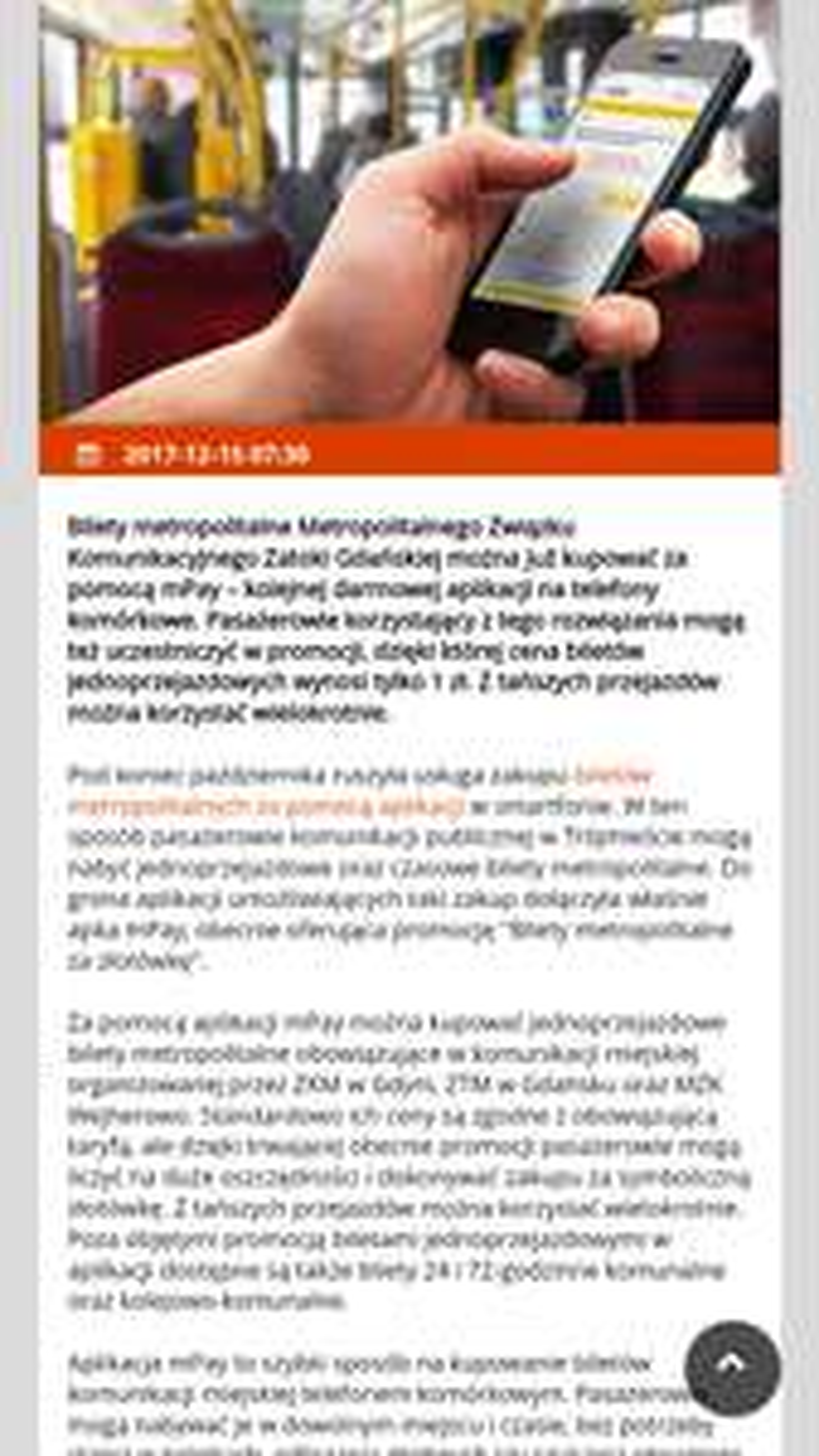 Bilety metropolitalne na terenie Trójmiasta za 1 zł z aplikacją mpay