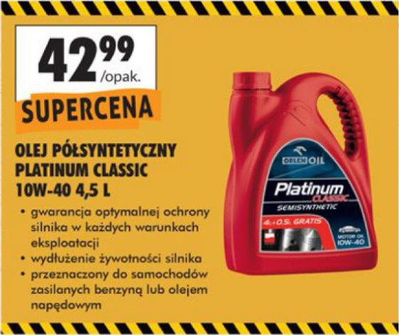 Olej silnikowy Platinum Classic Semisynthetic 10W-40 4,5 L (9,55 zł za 1 L) @ Biedronka