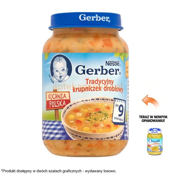 GERBER, Zupka tradycyjny krupniczek drobiowy, po 9 miesiącu, 190g