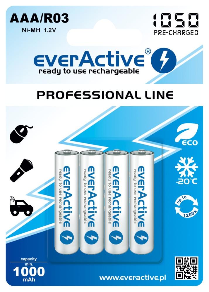 "4x akumulatorki everActive R03/AAA Ni-MH 1050 mAh ready to use ""Professional line"""