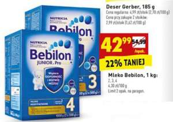 Mleko Bebilon (2,3,4) za 42,99zł @ Biedronka